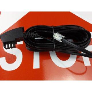 TAE Anschlusskabel für Systemtelefon Modell 62/61  Eumex 312  Focus  MwSt. Händler schwarz 6m